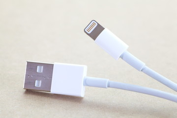 Close - up USB Cable Plug  on wood table