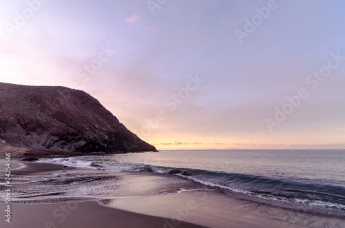 canvas print picture Beach and Wave at Sunrise Time