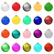 Set of vector colored Christmas balls on white.