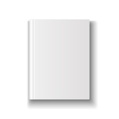 Blank book cover template on white background with soft shadows