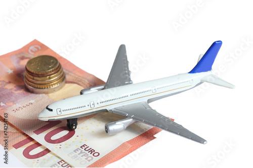 canvas print picture Flugzeug Geld