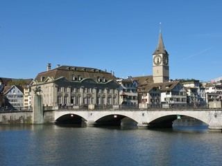 Fraumuenster and old bridge, scene in Zurich