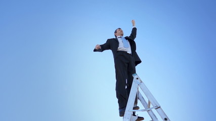 Businessman on Ladder Proud Winner Fist