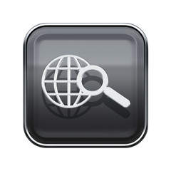 globe and magnifier icon glossy grey, isolated on white backgrou