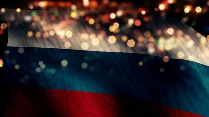 Russia Flag Light Night Bokeh Abstract Loop Animation