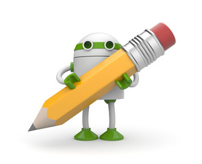 Robot with pencil
