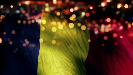 Romania Flag Light Night Bokeh Abstract Loop Animation