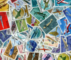 Background of Soviet stamps theme Airplanes