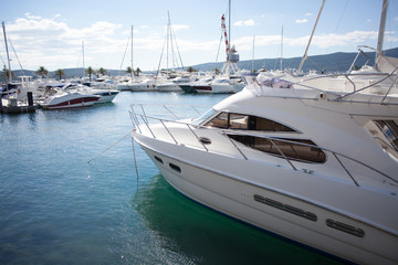 marina with luxury boats