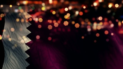 Qatar Flag Light Night Bokeh Abstract Loop Animation