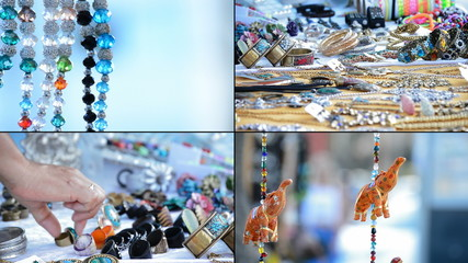Craft stall hawking, hippies and tribal necklaces in format 4K