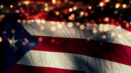 Puerto Rico Flag Light Night Bokeh Abstract Loop Animation