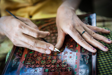 Lacquer manufacture in Bagan, Myanmar
