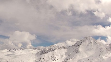 Snowy Mountains and Clouds Timelapse (Andorra, Grandvalira)
