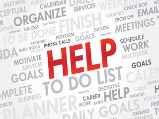 Word cloud of HELP related items, vector background