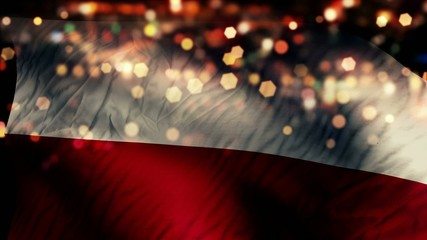 Poland Flag Light Night Bokeh Abstract Loop Animation