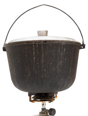 camping sooty pot on gas burner isolated
