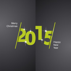 2015 Happy New Year green black background