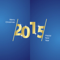 2015 Happy New Year gold blue background