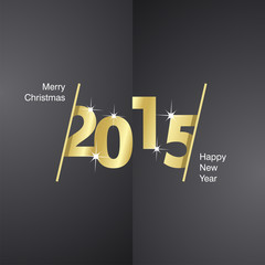 2015 Happy New Year gold black background
