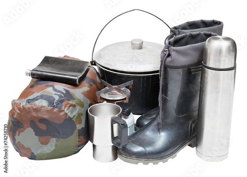canvas print picture tourism equipment isolated on white background