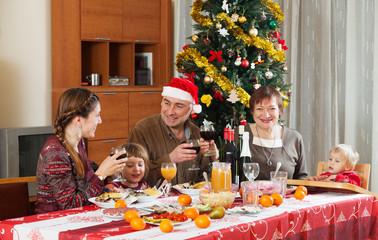 Happy family celebrating New Year