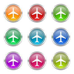 airplane colorful vector icons set