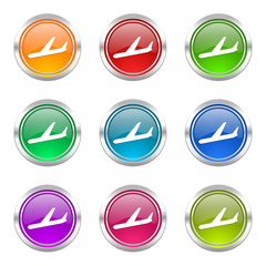 arrivals colorful vector icons set