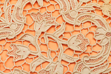 detail of dutch lace embroidered by needle