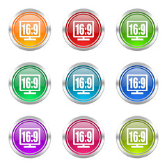 16 9 display colorful vector icons set