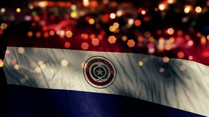 Paraguay Flag Light Night Bokeh Abstract Loop Animation