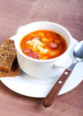 Cauliflower and sausage soup