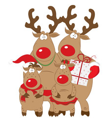 Reindeer family, Christmas and New Year card