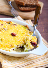 Cabbage and sausage gratin