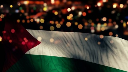 Palestine Flag Light Night Bokeh Abstract Loop Animation