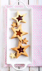 Star biscuits with jam filling