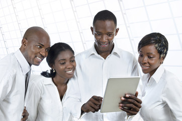 Four african business people with tablet PC