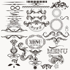 Calligraphic vector elements set in vintage style