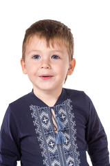 Little boy in the Ukrainian embroidered shirt