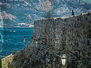 Old photos wit fortress of the old town of Budva, Montenegro 1