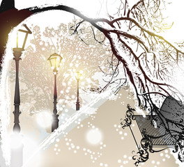 Christmas outdoor scenery with snow, street, lamps and park benc