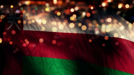 Oman Flag Light Night Bokeh Abstract Loop Animation