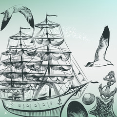 Engraved sea pattern with ship, shells and sea-gulls in old-fash