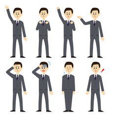 Set of a new male employee, vector illustration