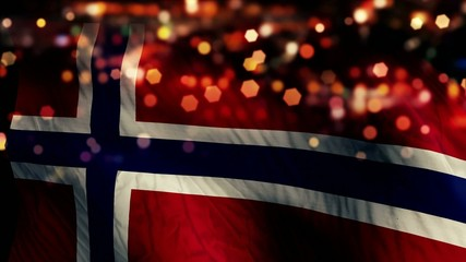 Norway Flag Light Night Bokeh Abstract Loop Animation