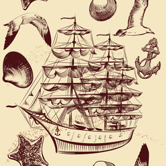 Seamless vector pattern with ship, shells and sea-gulls