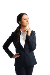 Thoughtful businesswoman with a finger under chin
