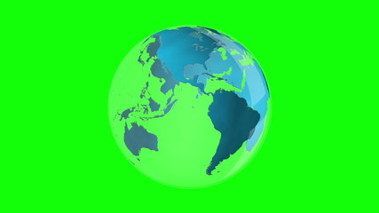 Blue earth spinning on green background