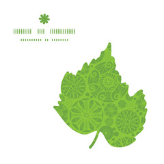 Vector abstract green and white circles leaf silhouette pattern