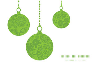 Vector abstract green and white circles Christmas ornaments